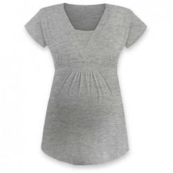 Anička - tričko na dojčenie, krátke rukávy, sivý melír