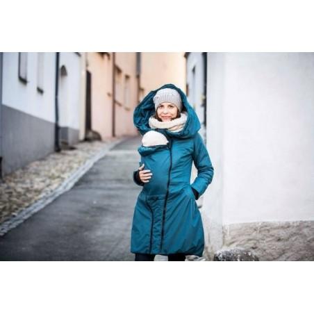 Zimný kabát - petrolejovo modrý