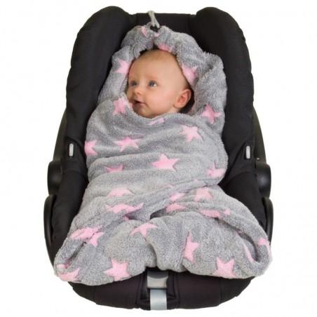 Zavinovacia fleece deka - Ružové hviezdičky