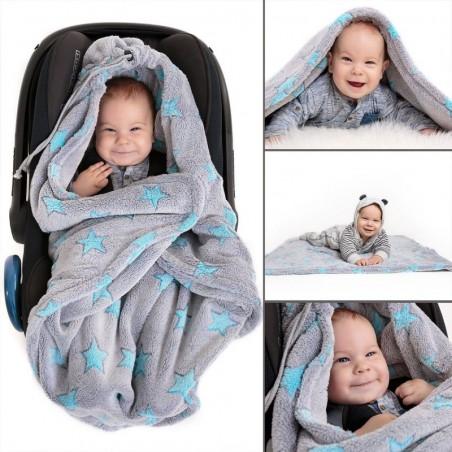 Zavinovacia fleece deka - Modré hviezdičky
