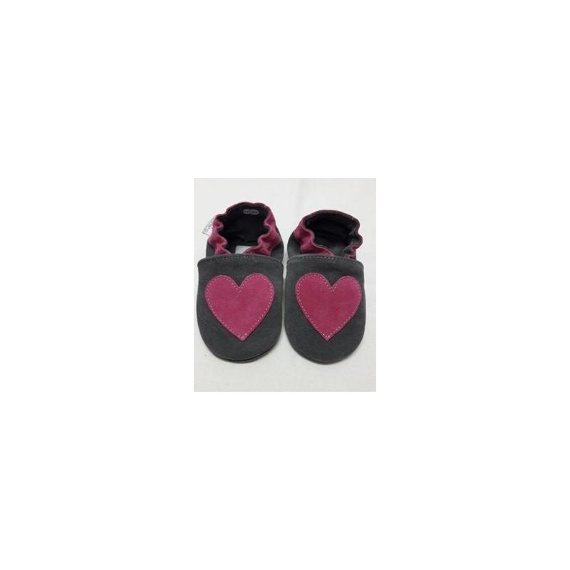 Kožené capačky Babice Srdce ružové - tmavosivé