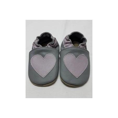 Kožené capačky Babice Srdce lila - svetlosivé