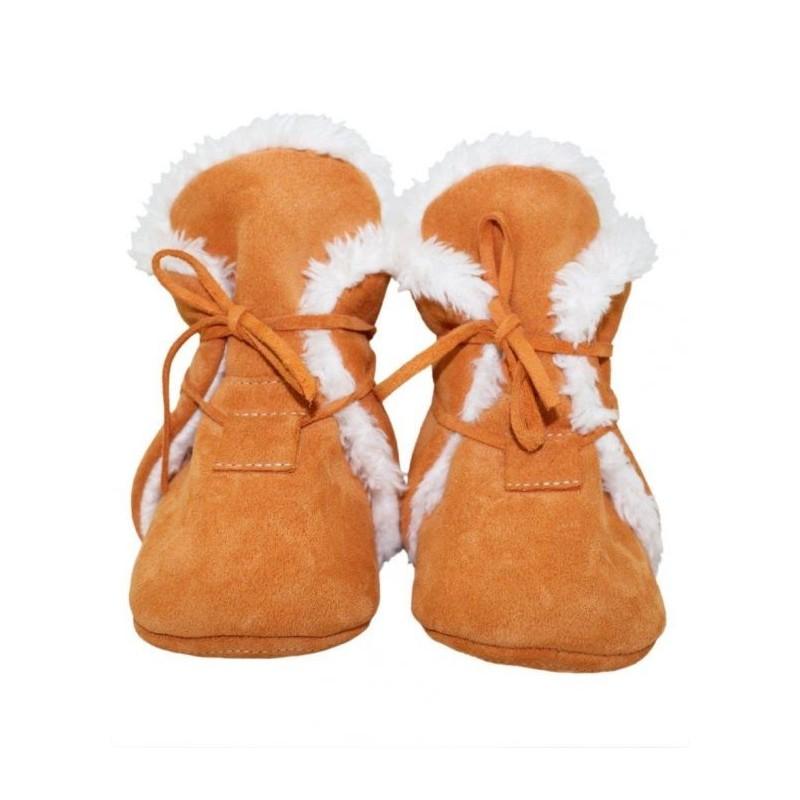 Zimné kožené capačky Babice - oranžové