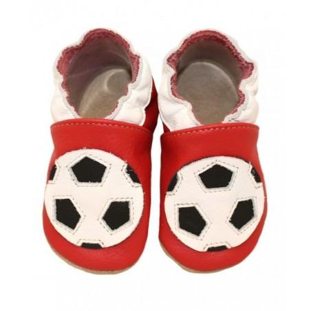 Kožené capačky Babice Futbalka - červené