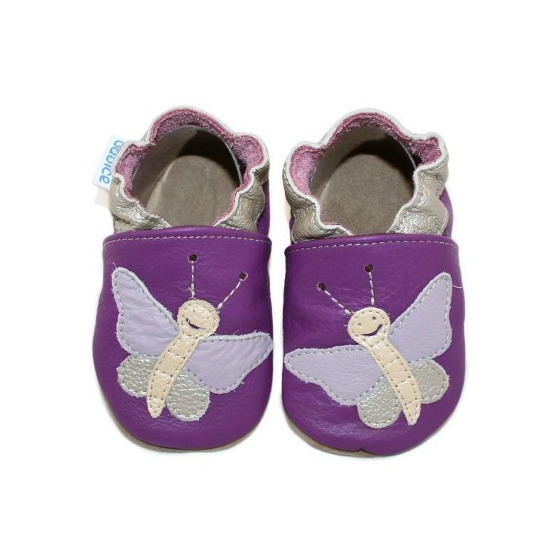 Kožené capačky Babice Motýľ fialový