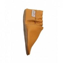 Kožené capačky - pastelovo oranžové