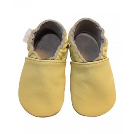 Kožené capačky - pastelovo žlté