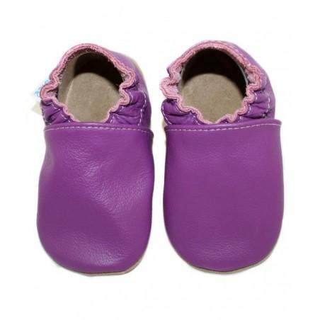 Kožené capačky - purpurové