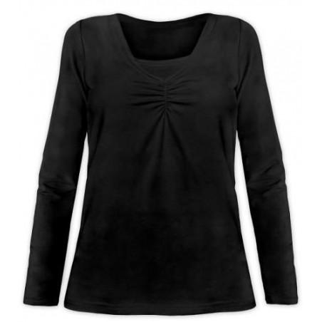 Klaudia - tričko na dojčenie, dlhé rukávy, čierna