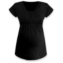 Anička - tričko na dojčenie, krátke rukávy, čierna