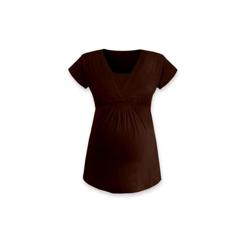 Anička - tričko na dojčenie, krátke rukávy, čoko hnedá