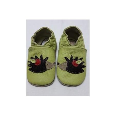 Kožené capačky Babice ježko na zelenom