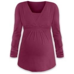Anička - tričko na dojčenie, dlhé rukávy, cyklámenová
