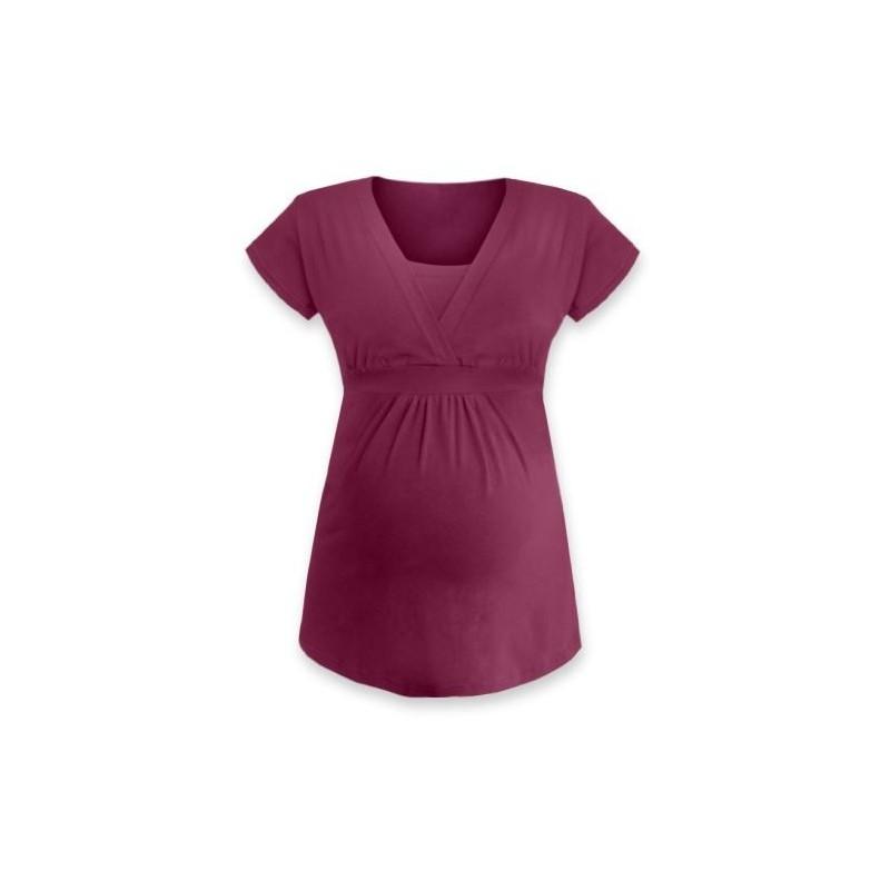 Anička - tričko na dojčenie, krátke rukávy, cyklámenová