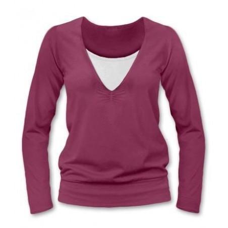 Karla - tričko na dojčenie, dlhé rukávy, cyklámenová
