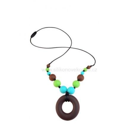 Náhrdelník donut hnedá - tyrkysová -zelená