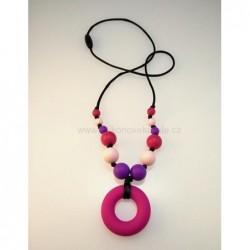 Náhrdelník donut tmavoružová - fialová - sv. ružová