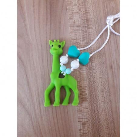 LImitovaná edícia - zelená žirafa s tyrkysovou a bielou