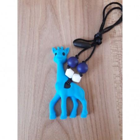 LImitovaná edícia - nebesky modrá žirafa s bielou a tm. modrou