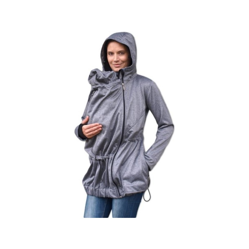 Pavla 2 - softshellová bunda na nosenie detí sivý melír