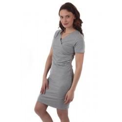 Amálie - šaty na dojčenie, krátky rukáv, sivý melír