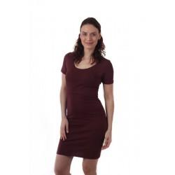 Elena - šaty na dojčenie, krátky rukáv, bordo
