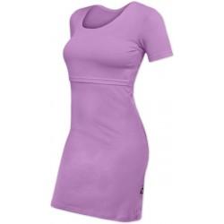 Elena - šaty na dojčenie, krátky rukáv, levanduľová