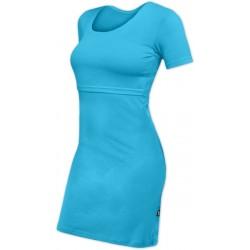 Elena - šaty na dojčenie, krátky rukáv, tyrkysová