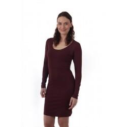 Elena - šaty na dojčenie, dlhý rukáv, bordo