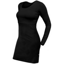 Elena - šaty na dojčenie, dlhý rukáv, čierna