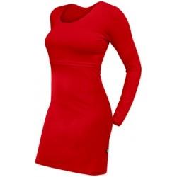 Elena - šaty na dojčenie, dlhý rukáv, červené