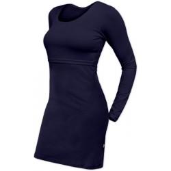 Elena - šaty na dojčenie, dlhý rukáv, tmavo modrá