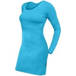 Elena - šaty na dojčenie, dlhý rukáv, tyrkysová