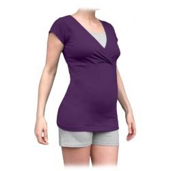 Jožánek pyžamo na dojčenie - krátke, slivkové + sivý melír