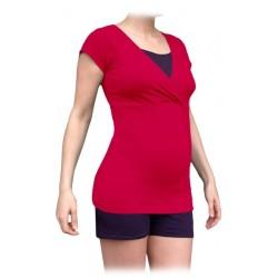 Jožánek pyžamo na dojčenie - krátke, ružové + slivka