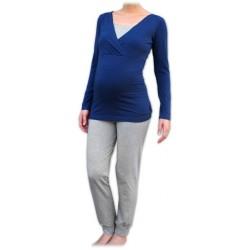 Jožánek pyžamo na dojčenie - dlhé, jeans modrá + sivý melír