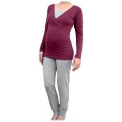 Jožánek pyžamo na dojčenie - dlhé, cyklámen + sivý melír