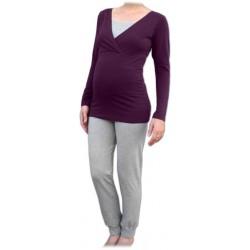 Jožánek pyžamo na dojčenie - dlhé, slivkové + sivý melír