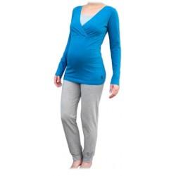 Jožánek pyžamo na dojčenie - dlhé, petrolejové + sivý melír