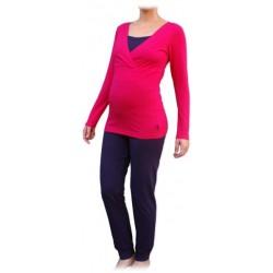 Jožánek pyžamo na dojčenie - dlhé, ružové + slivka