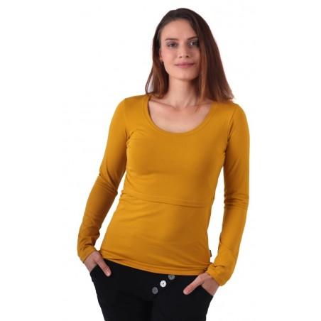 Kateřina - tričko na dojčenie, dlhé rukávy, horčicová