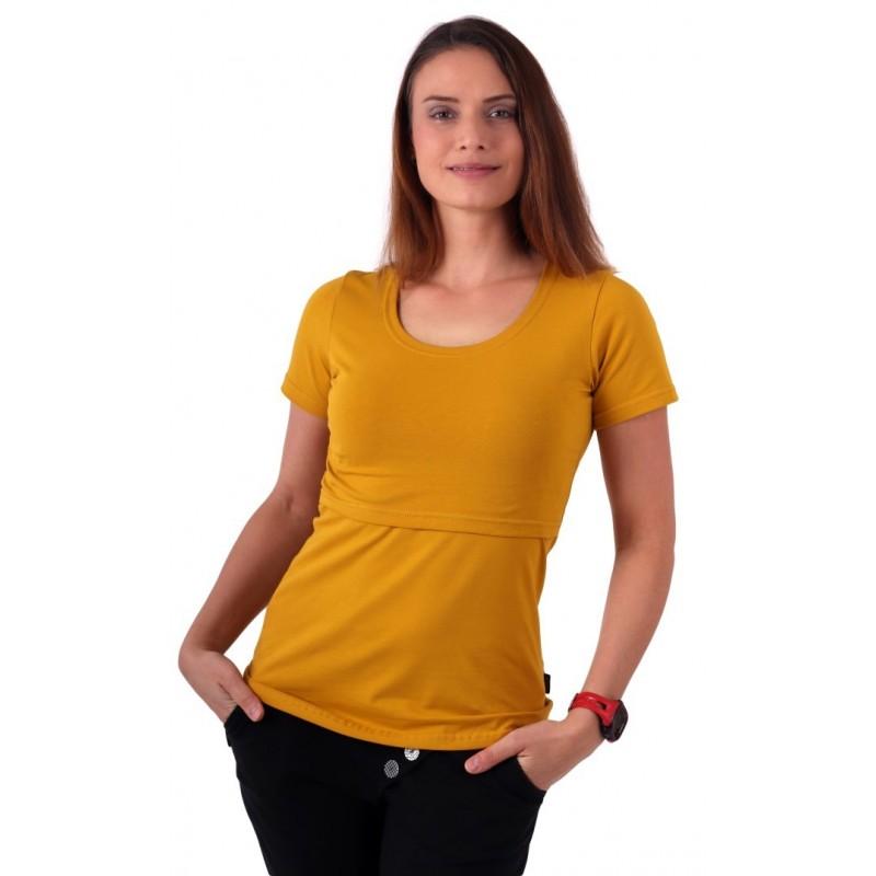Kateřina - tričko na dojčenie, krátke rukávy, horčicová