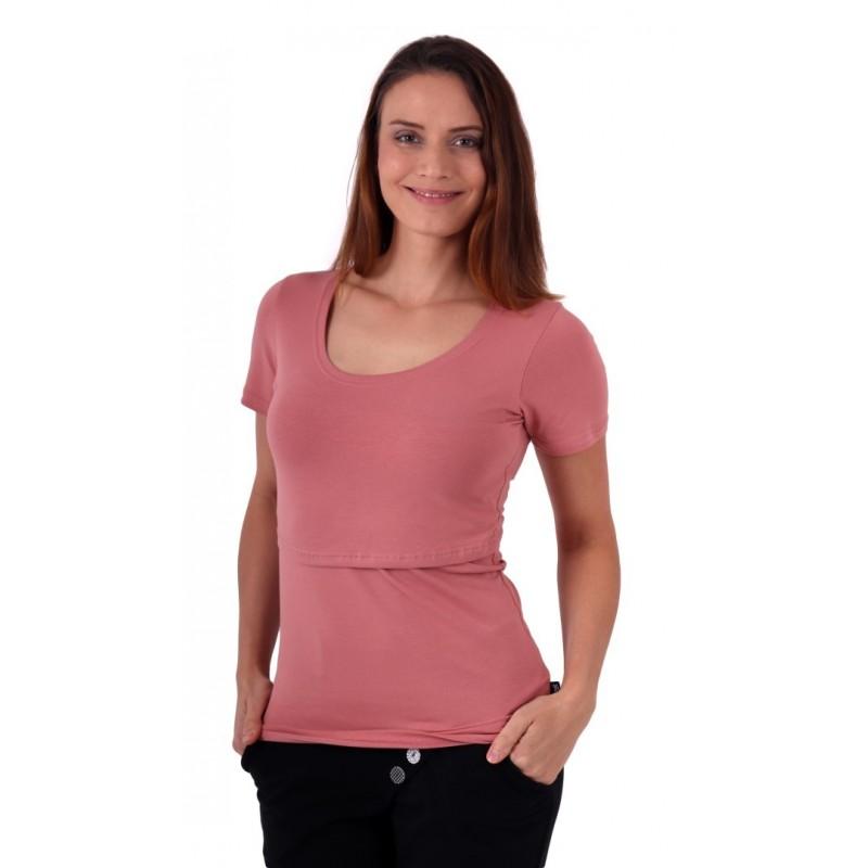 Kateřina - tričko na dojčenie, krátke rukávy, staroružová