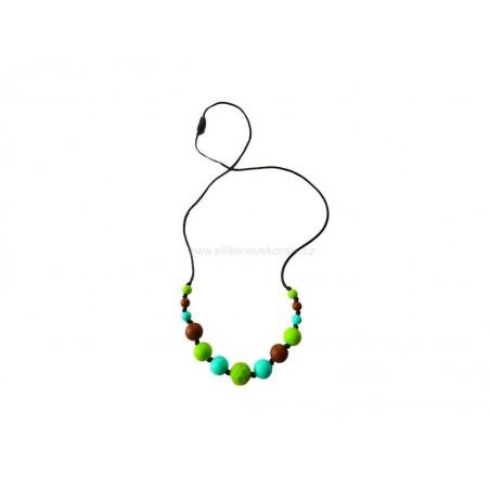 Silikonové korále - náhrdelník zelený zkosený, tyrkys, hnědá