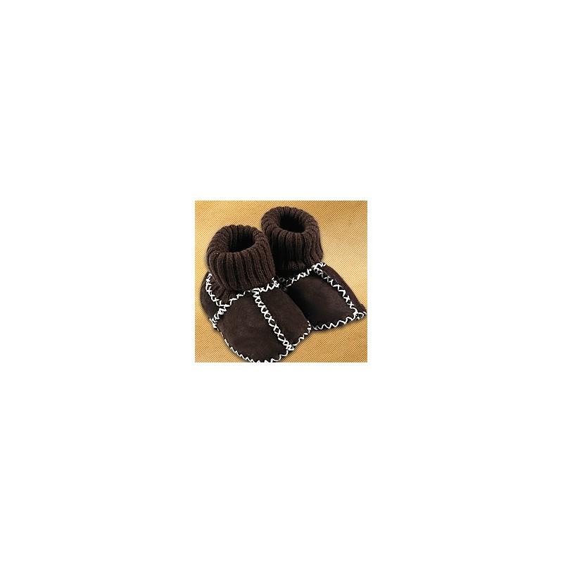 Vlnené capačky Saling s úpletom hnedé